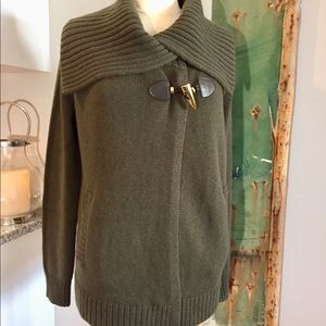 🍁 Michael Kors Olive Green Sweater Jacket